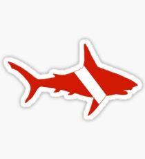 Pegatina Silueta de tiburón buzo
