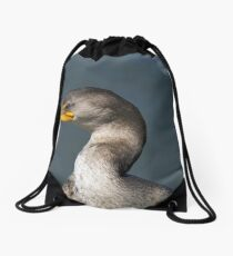 Portrait of a Cormorant Drawstring Bag