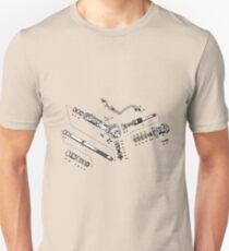 Rack and Pinion drawing (exploded) Unisex T-Shirt