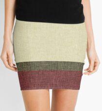 Tri Colour Geometric Graphic Burlap Weave Print Stripe Olive Green Burgundy Khaki Mini Skirt