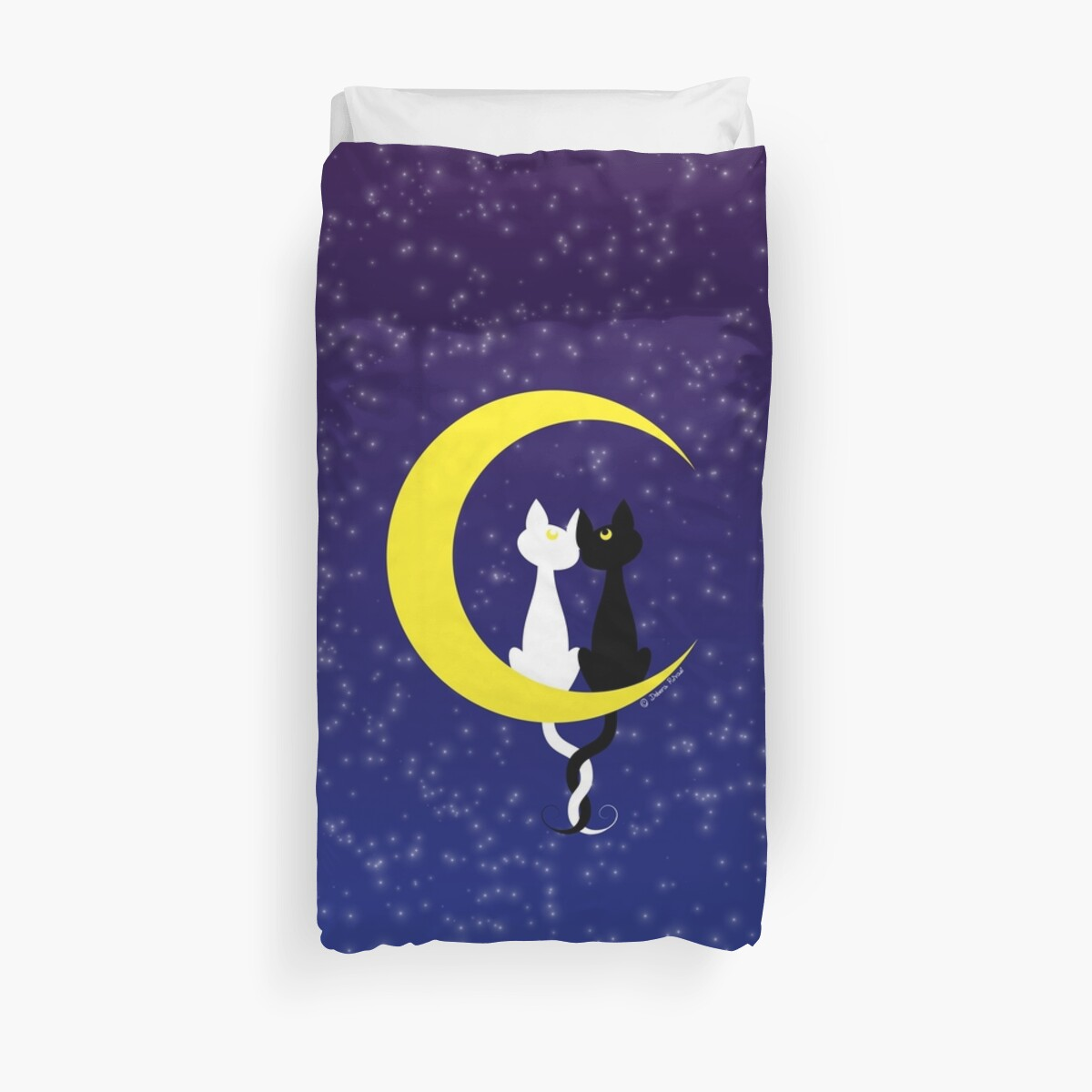 Cats in love on the moon by SilveryDreams