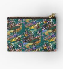 SURF'S UP COLOURFUL SURFER SILHOUETTE Zipper Pouch