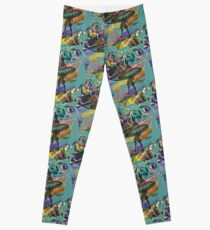 SURF'S UP COLOURFUL SURFER SILHOUETTE Leggings