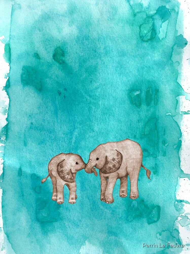 Baby Elephant Love - sepia on teal watercolour by PerrinLeFeuvre