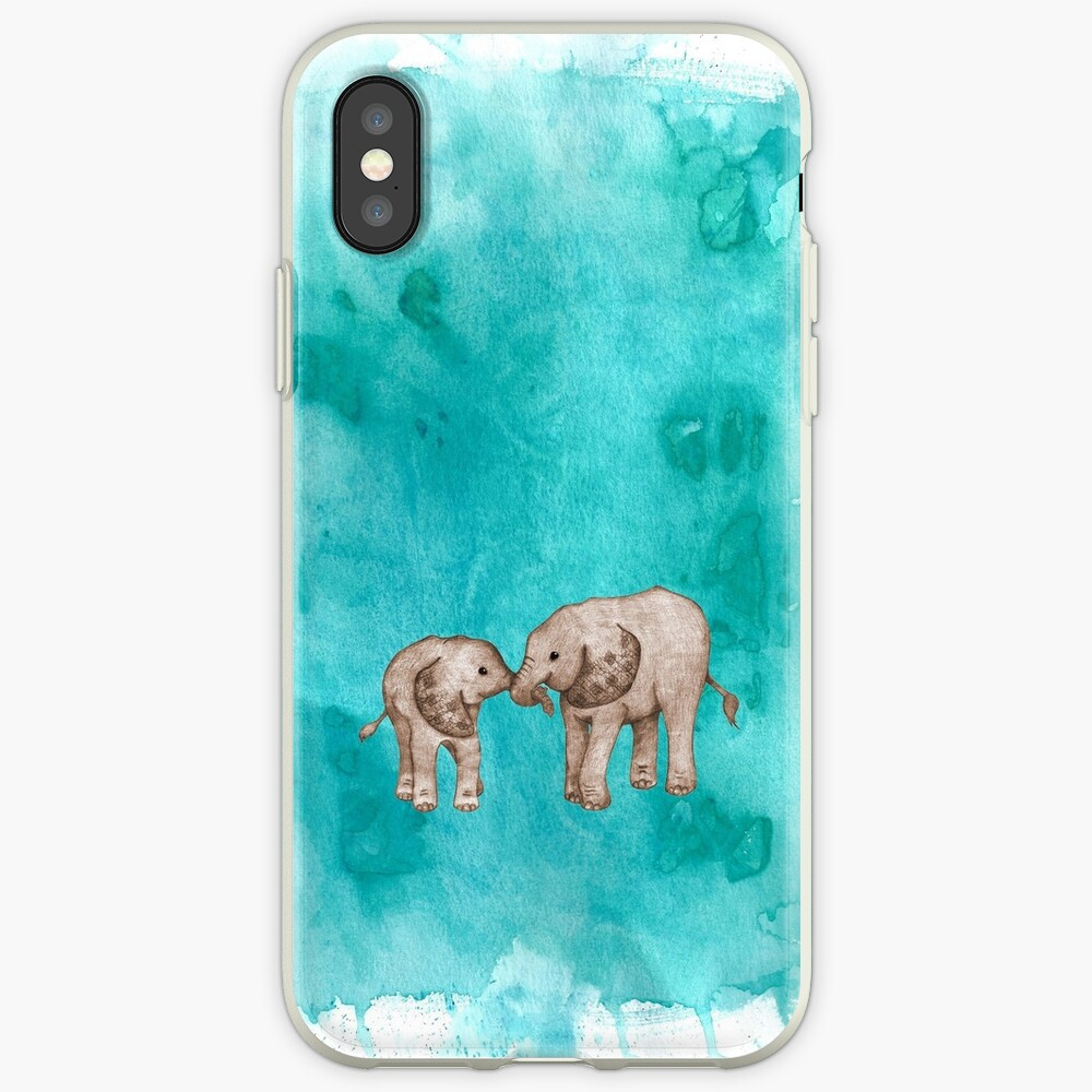 Baby Elephant Love - sepia on teal watercolour iPhone Case & Cover