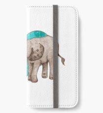 Baby Elephant Love - sepia on teal watercolour iPhone Wallet/Case/Skin