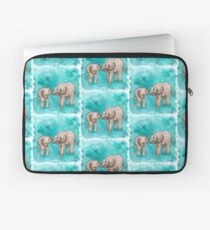 Baby Elephant Love - sepia on teal watercolour Laptop Sleeve