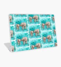 Baby Elephant Love - sepia on teal watercolour Laptop Skin