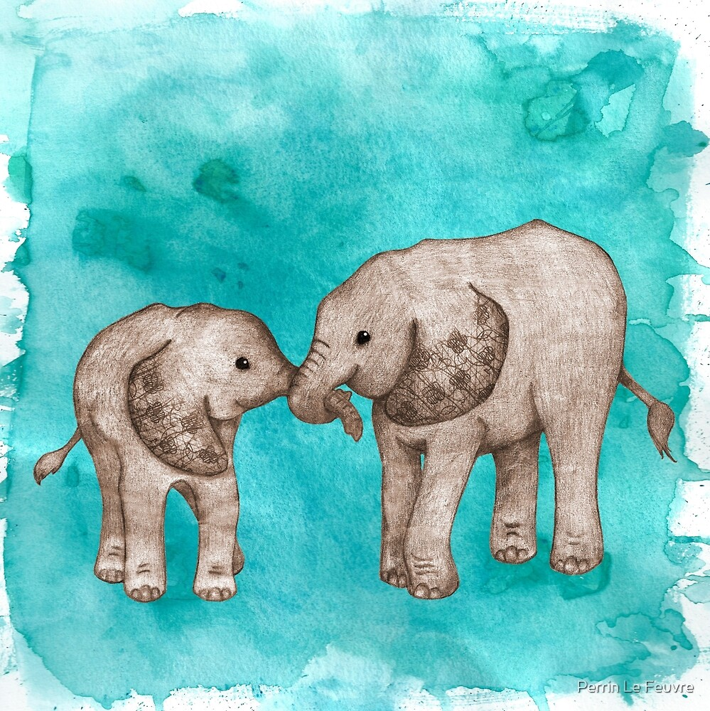 Baby Elephant Love - sepia on teal watercolour by Perrin Le Feuvre