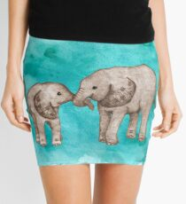 Baby Elephant Love - sepia on teal watercolour Mini Skirt