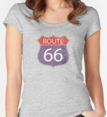 Route 66 Road Sign Fitted Scoop T-Shirt