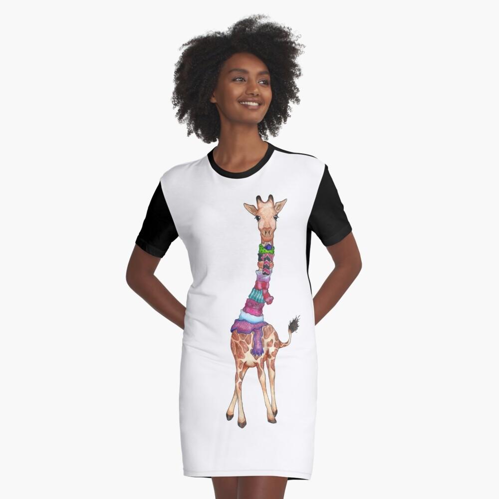 Cold Outside - Cute Giraffe Illustration Graphic T-Shirt Dress