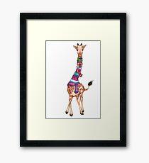 Cold Outside - Cute Giraffe Illustration Framed Print