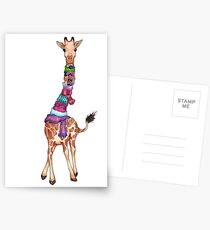Cold Outside - Cute Giraffe Illustration Postcards