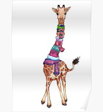 Cold Outside - Cute Giraffe Illustration Poster