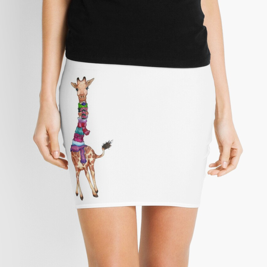 Cold Outside - Cute Giraffe Illustration Mini Skirt