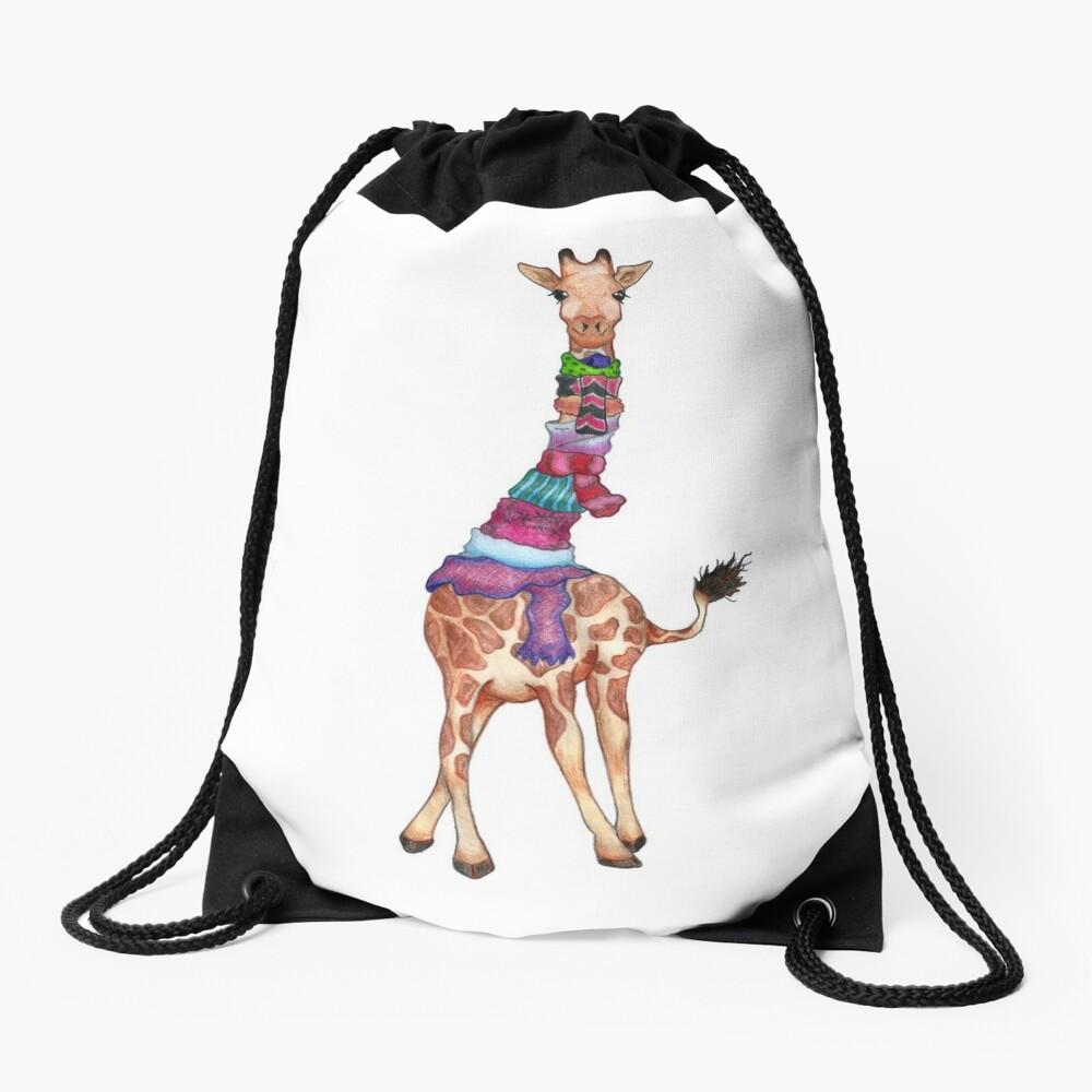 Cold Outside - Cute Giraffe Illustration Drawstring Bag