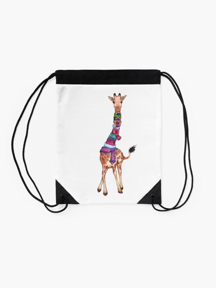 Alternate view of Cold Outside - Cute Giraffe Illustration Drawstring Bag