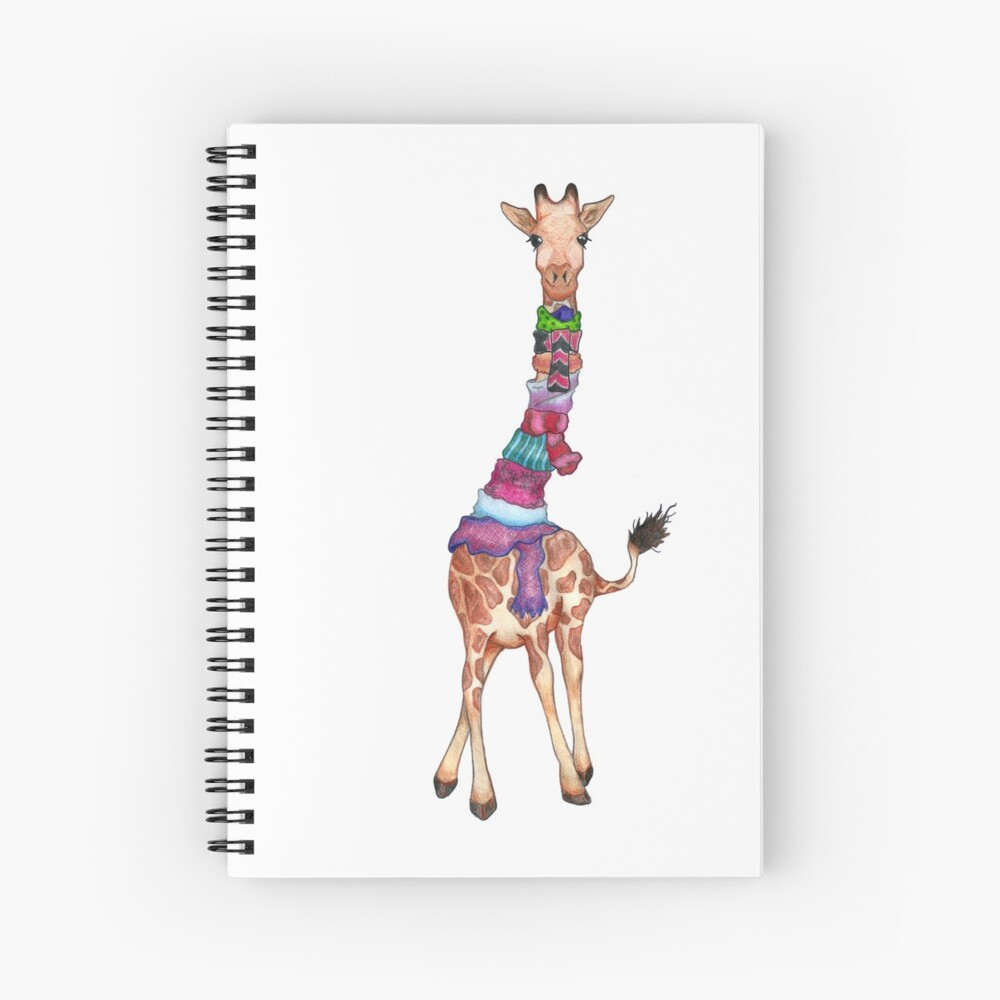 Cold Outside - Cute Giraffe Illustration Spiral Notebook
