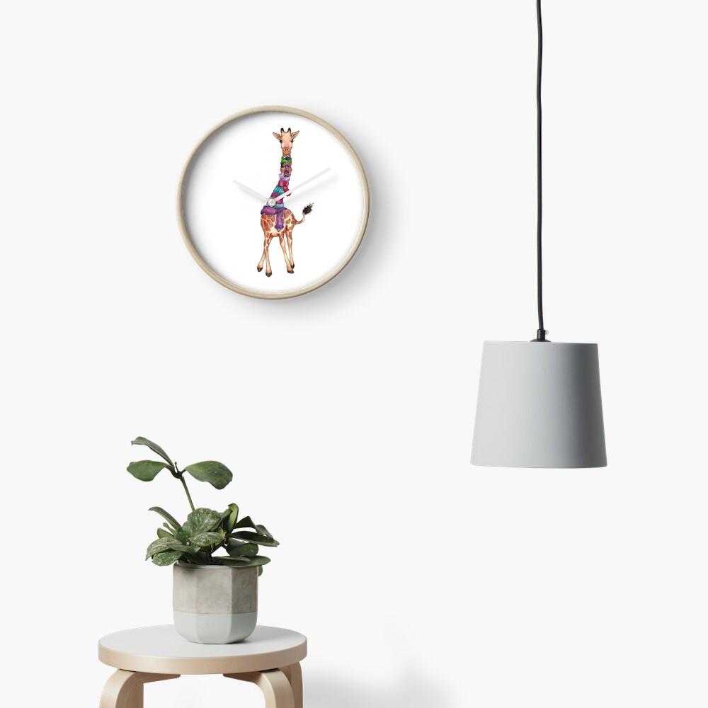 Cold Outside - Cute Giraffe Illustration Clock