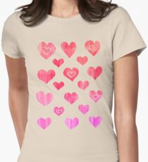 Hot Pink, Melon & Magenta Watercolor Abstract Womens Fitted T-Shirt