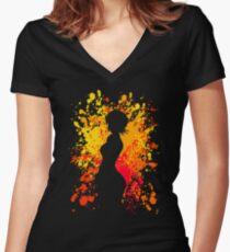 Seras Inspired Paint Splatter Anime Shirt Women's Fitted V-Neck T-Shirt