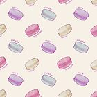 French Macaron Pattern - raspberry, pistachio, lemon & blueberry by Perrin Le Feuvre