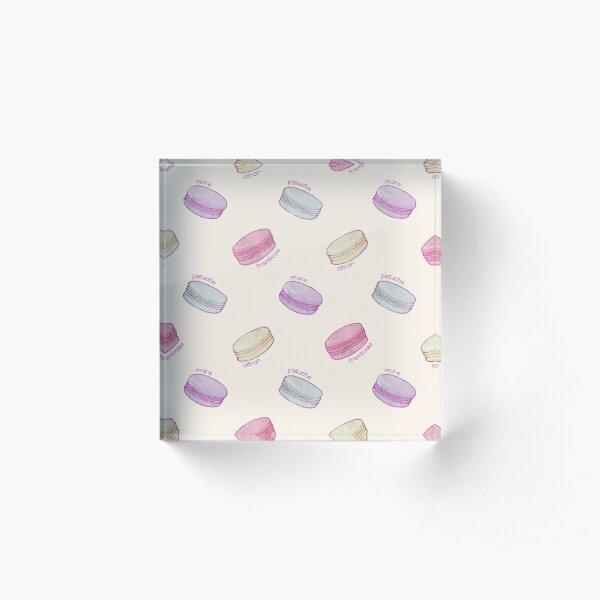 French Macaron Pattern - raspberry, pistachio, lemon & blueberry Acrylic Block