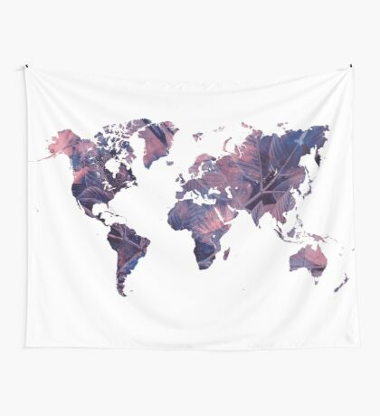 world map 76 purple Wall Tapestry