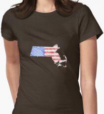 Marble Massachusetts-America Print Womens Fitted T-Shirt