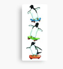 Happy Wheels - Penguins on Skate Boards Canvas Print