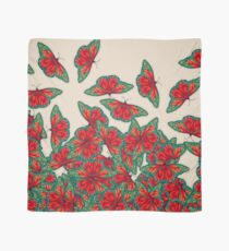 Ruby & Emerald Butterfly Dance - red, teal & green butterflies on cream Scarf