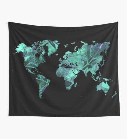 world map 77 blue Wall Tapestry