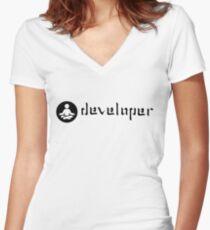 developer zen black Women's Fitted V-Neck T-Shirt
