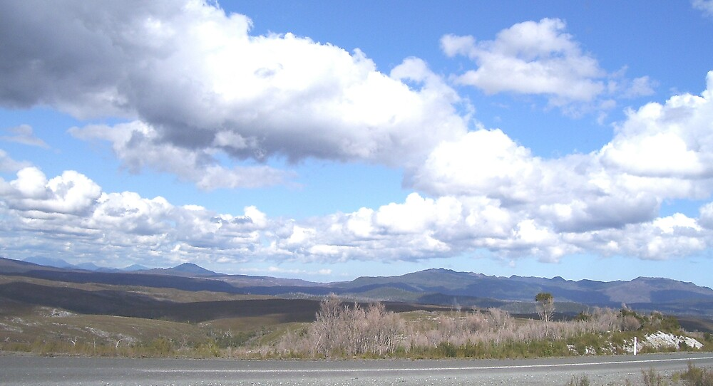 love the patchwork effect on the land, from the clouds, on the way to Corinna by gaylene