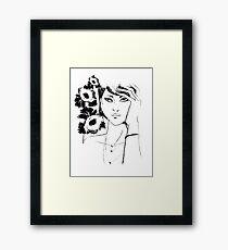 pencil portrait of woman Framed Print