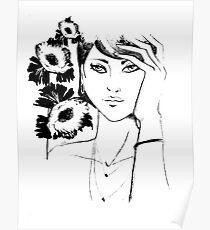 pencil portrait of woman Poster