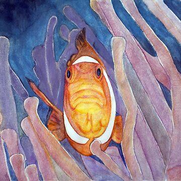 Clownfish Tropical fish Nemo with Anemones Summer Print Watercolors, ink, ocean, sea life, bay, harbor, beach, modern decor, coastal, watercolor, mermaid, pearl   by arteivanna