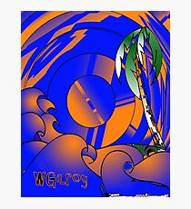 Blue and Orange Wave with Palm … w4 Photographic Print