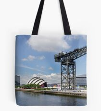 Side view of the main Clydeside, Glasgow, Scotland Tote Bag