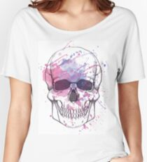 Human skull with watercolor splash Women's Relaxed Fit T-Shirt