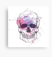 Human skull with watercolor splash Canvas Print