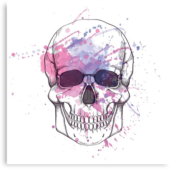 Human skull with watercolor splash by Eireen
