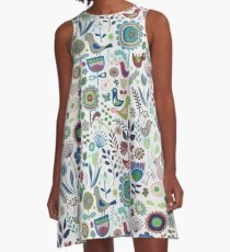 Birds and Blooms - Iznik - Pretty Floral Bird Pattern by Cecca Designs A-Line Dress
