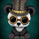 Steampunk-Baby-Panda-Bärenjunges-aquamarines Blau von jeff bartels