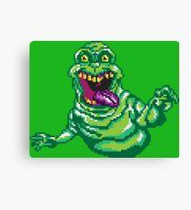 Ghostbusters Slimer Pixel Art Canvas Print