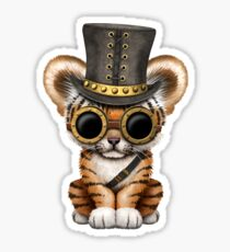 Steampunk Baby Tiger Cub Sticker
