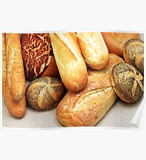 Artisan baked goods close up in a rustic setting Poster