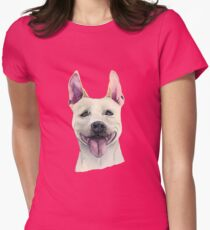 White Staffordshire Bull Terrier Dog Watercolor Portrait Womens Fitted T-Shirt