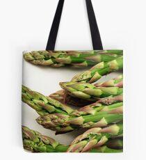 A close up image of fresh asparagus Tote Bag